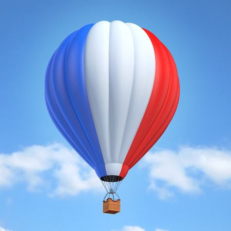 balloon: Hot air balloon with French flag