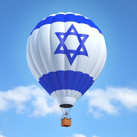 Hot air balloon with Israel flag Stock Photo