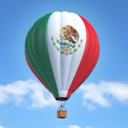 globo de aire caliente con la bandera mexicana
