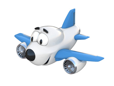space travel: Cartoon airplane with a smiling face Stock Photo