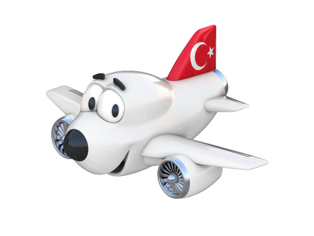 turkish flag: Cartoon airplane with a smiling face - Turkish flag