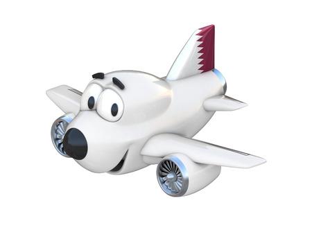 airway: Cartoon airplane with a smiling face - Qatar flag