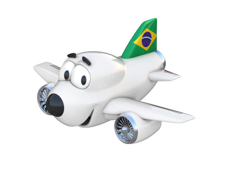 brazilian flag: Cartoon airplane with a smiling face - Brazilian flag