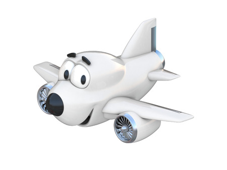 airway: Cartoon airplane with a smiling face Stock Photo
