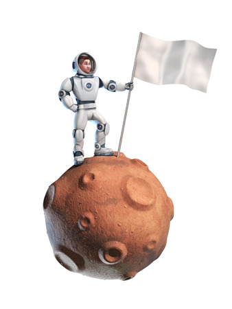 man on the moon: astronaut on meteor holding a flag with copy space Stock Photo