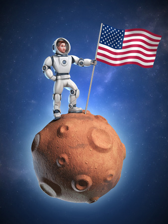 spaceflight: astronaut on meteor holding the American flag Stock Photo