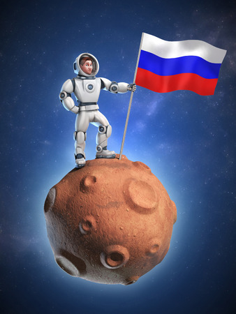 spaceflight: astronaut on meteor holding the Russian flag