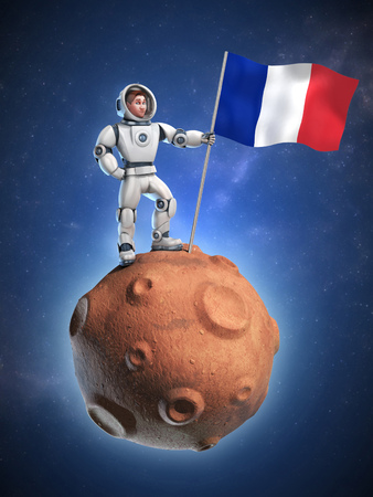 spaceflight: astronaut on meteor holding the French flag Stock Photo