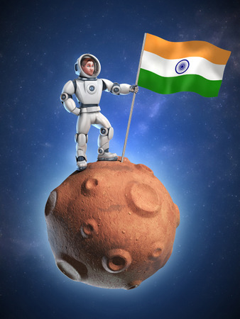 solider: astronaut on meteor holding the India flag Stock Photo