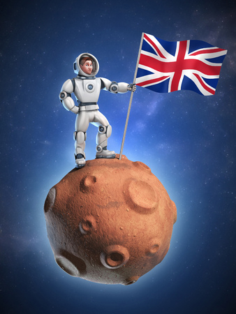 solider: astronaut on meteor holding the United Kingdom flag Stock Photo