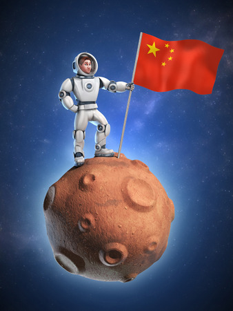 solider: astronaut on meteor holding the Chinese flag Stock Photo