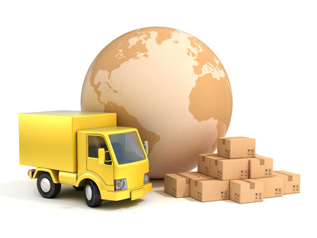 shipping: world wide shipping 3d illustration Stock Photo