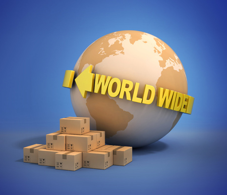 wide: world wide shipping 3d illustration Stock Photo