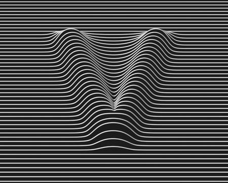 v shape: linear 3d font letter V
