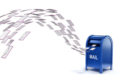 mail address: letters flying into mail box Stock Photo