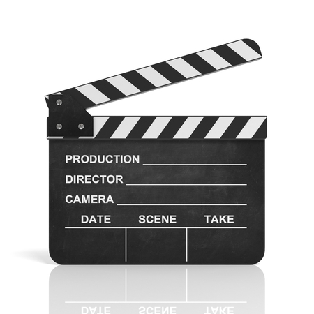 in action: movie clapper 3d illustration Stock Photo