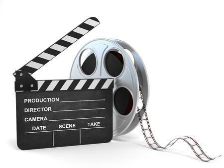 movie clapper and film reel 3d illustration Standard-Bild