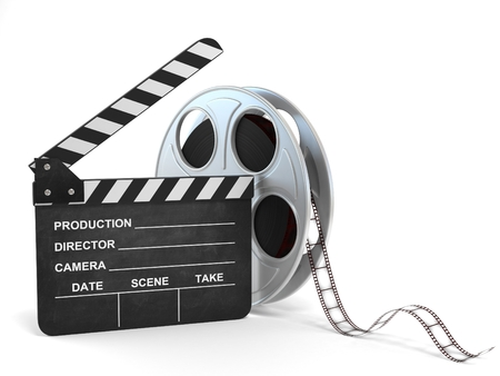 movie clapper: movie clapper and film reel 3d illustration Stock Photo