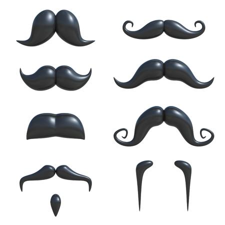 bigote: bigote negro 3d conjunto