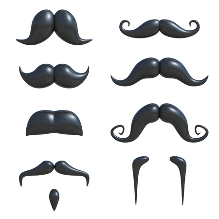 hair style collection: black mustache 3d set Stock Photo