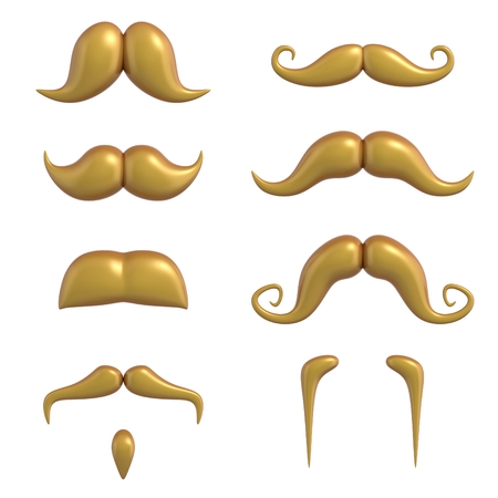 style goatee: mustache 3d set Stock Photo