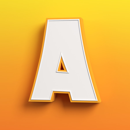 write a letter: cartoon 3d font letter A
