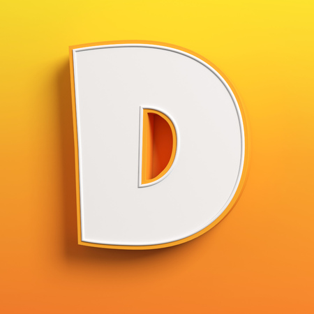 write a letter: cartoon 3d font letter D