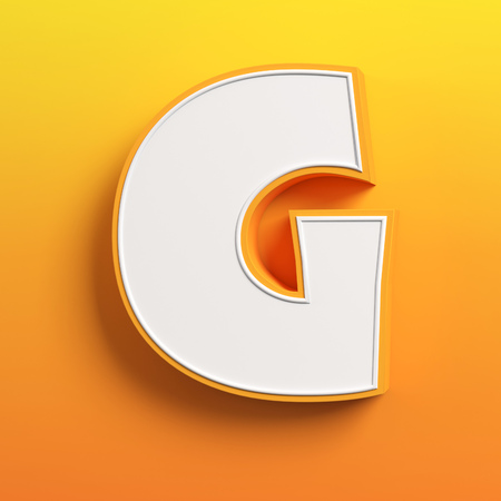yellow character: cartoon 3d font letter G