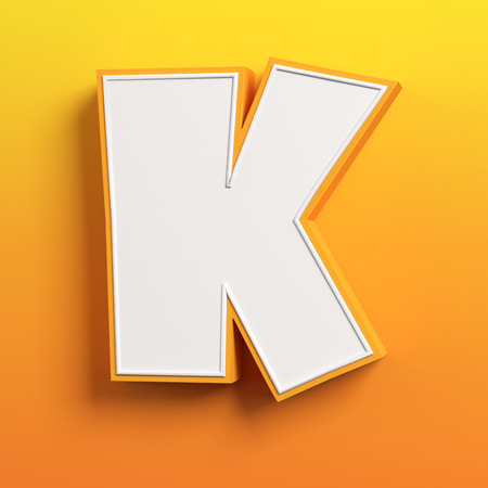 letter k: cartoon 3d font letter K