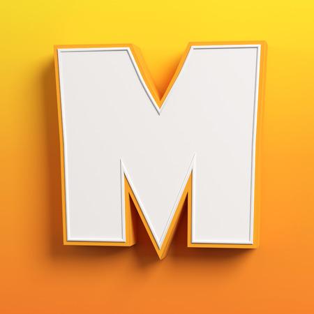 child education: cartoon 3d font letter M