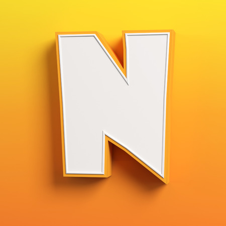 cartoon 3d font letter N