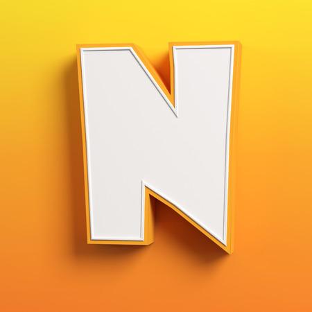 tipos de letras: fuente de la letra N de dibujos animados 3D