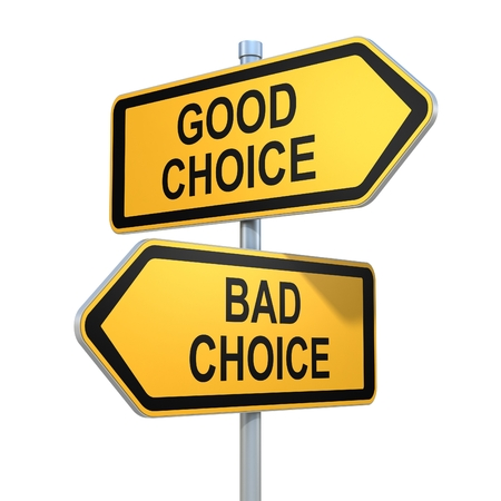 right vs wrong: two road signs - good and bad choice