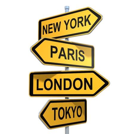 Wereldsteden New York, Londen, Tokio, Parijs op wegwijzer pijlen Stockfoto