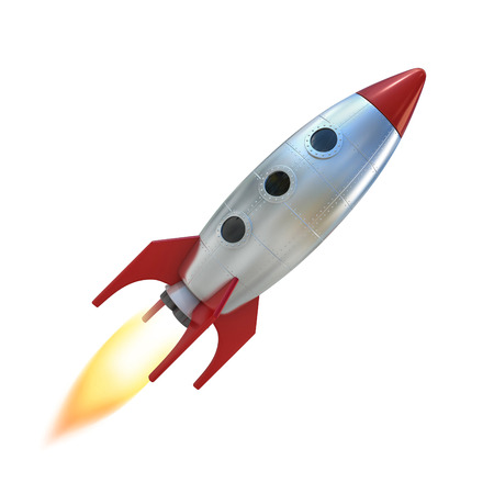 launch: cartoon rocket space ship