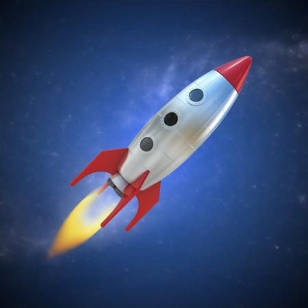 brandweer cartoon: cartoon raket ruimteschip Stockfoto