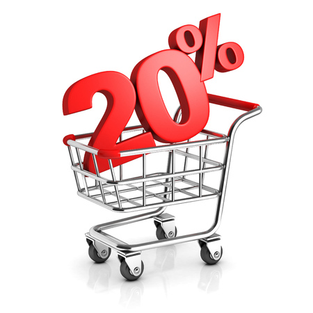 20 percent discount in shopping cart Stock Photo