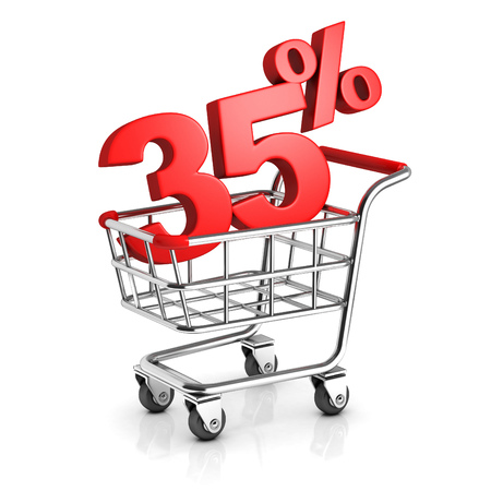 35: 35 percent discount in shopping cart Stock Photo