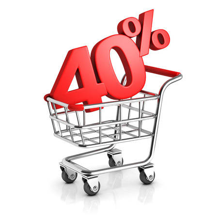 40: 40 percent discount in shopping cart Stock Photo