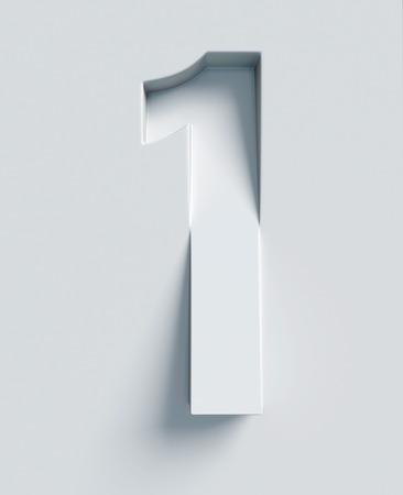 番号 1 傾斜 3 d フォントが刻まれ、表面から押出 写真素材