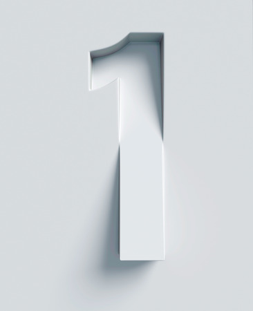 Number 1 slanted 3d font engraved and extruded from the surface Banque d'images