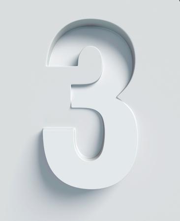 番号 3 斜め 3 d フォントが刻まれ、表面から押出