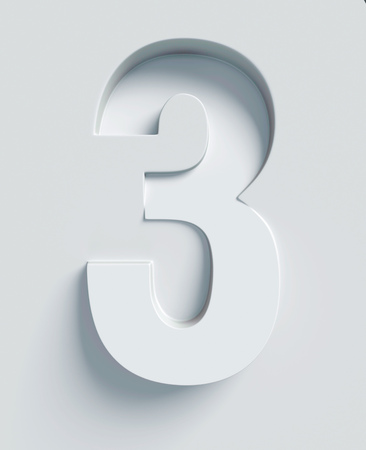 Number 3 slanted 3d font engraved and extruded from the surface 版權商用圖片 - 46059692