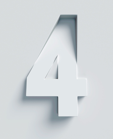 extruded: Number 4 slanted 3d font engraved and extruded from the surface Stock Photo