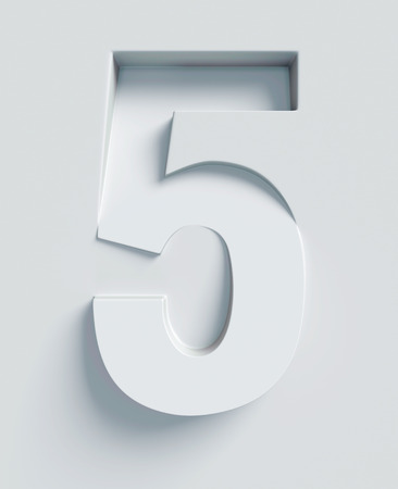 slanted: Number 5 slanted 3d font engraved and extruded from the surface Stock Photo