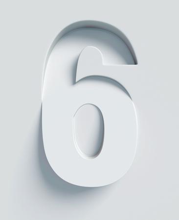 Nombre 6 incliné 3d police gravé et extrudé à partir de la surface Banque d'images - 46059691
