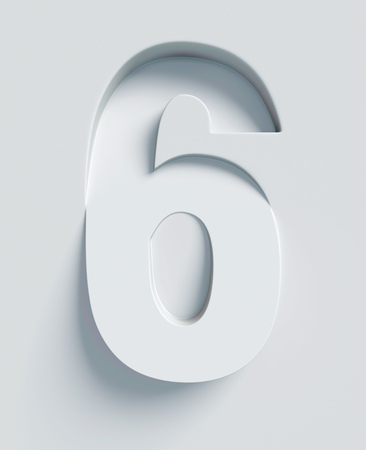 extruded: Number 6 slanted 3d font engraved and extruded from the surface Stock Photo