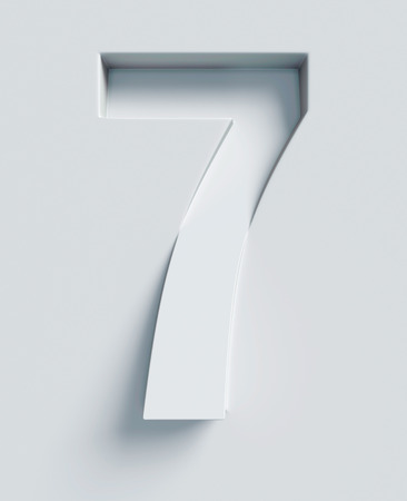Number 7 slanted 3d font engraved and extruded from the surface