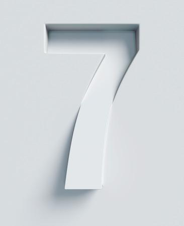 Nummer 7 schuine 3D-lettertype gegraveerd en geëxtrudeerd van het oppervlak Stockfoto