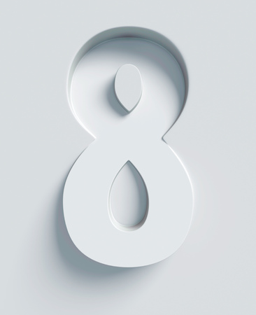 extruded: Number 8 slanted 3d font engraved and extruded from the surface